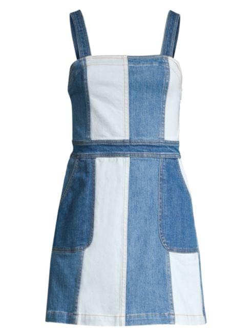 Alice + Olivia Jeans Jamiee Two-Tone A-Line Denim Mini Dress