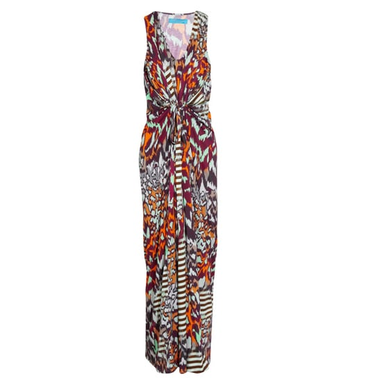 """>> A tribal print gets grounded by  strappy black flats. Braided bracelets and a long-strapped pouch add a downtown vibe. Matthew Williamson Printed Maxi Dress , $675 Looks chic with: <iframe src=""""http://widget.shopstyle.com/widget?pid=uid5121-1693761-41&look=3353145&width=3&height=3&layouttype=0&border=0&footer=0"""" frameborder=""""0"""" height=""""244"""" scrolling=""""no"""" width=""""286""""></iframe>"""
