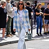 With a White Tee, Checked Blazer, and White Heels