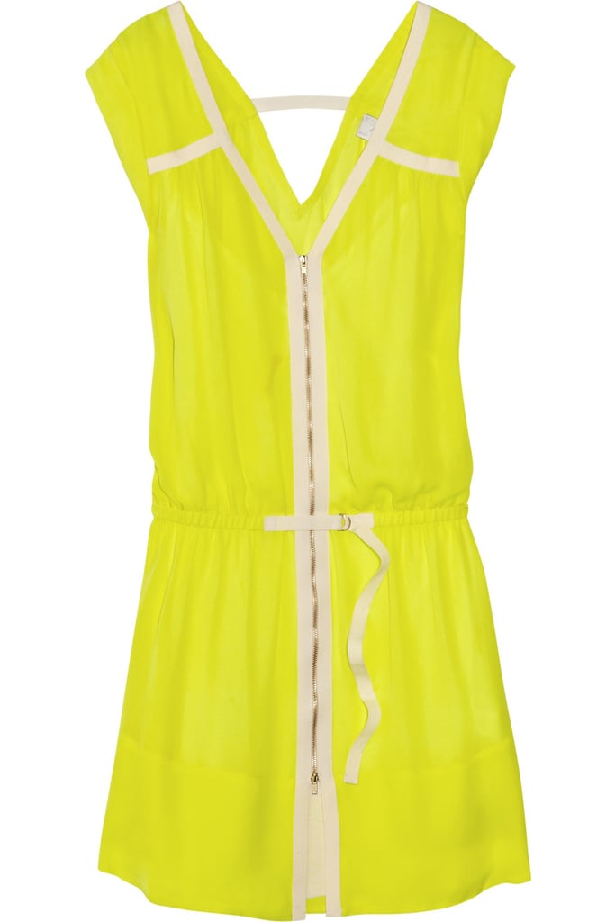 For neon lovers, this one's for you. Pair this fluorescent yellow shift dress with dark-hued sandals and a denim jacket.  A.L.C. Meg Washed-Silk Dress ($298, originally $595)