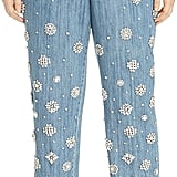 Michael Michael Kors Rhinestone Embellished Jeans in Light Indigo