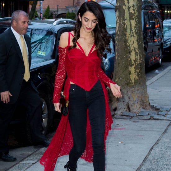 Amal Clooney Red Lace Top