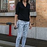 Statement pants and statement heels rounded out a staple button-down.