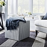 Lynwood Square Upholstered Cube Ticking Stripe Navy