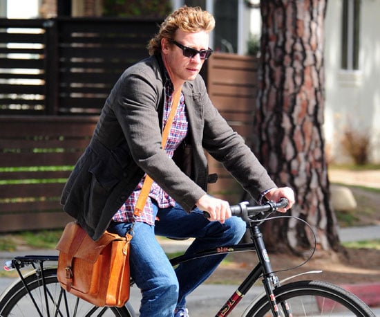 Slide Picture of Simon Baker Biking in LA
