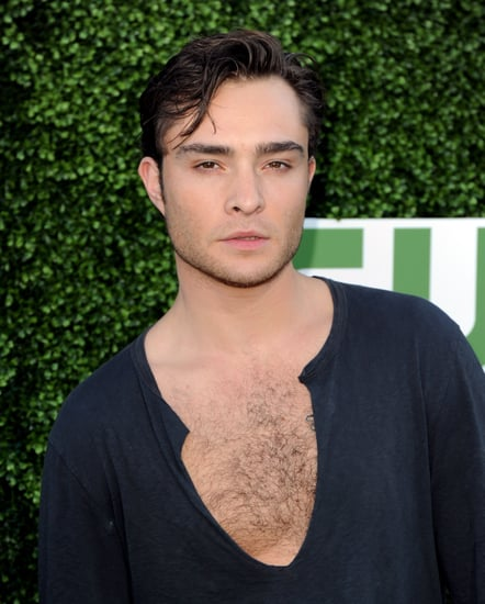 Ed Westwick reveals chest hair in a plunging neckline top!