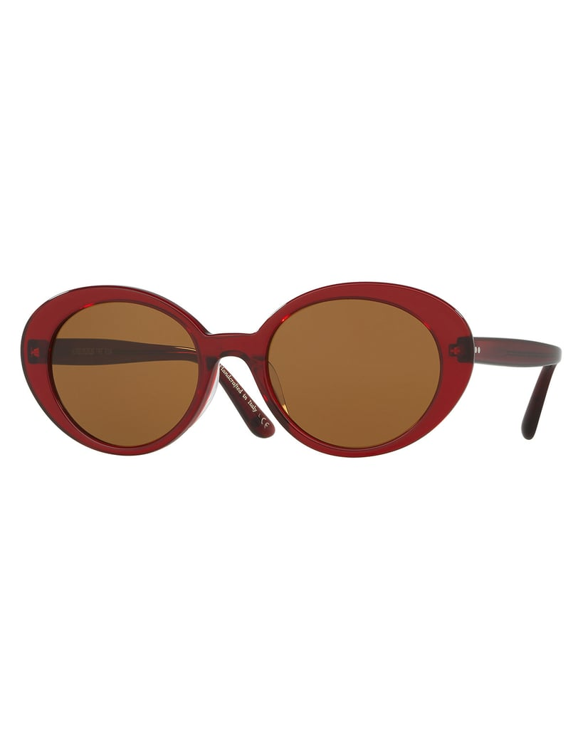 In rich burgundy, these Oliver Peoples Parquet Monochromatic Oval Sunglasses ($420) hit a sophisticated note.