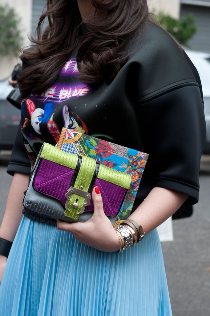 An armful of brilliant color stole the show in this look. Source: Greg Kessler