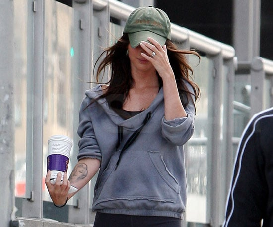 Slide Picture of Megan Fox Showing Engagement Ring in LA