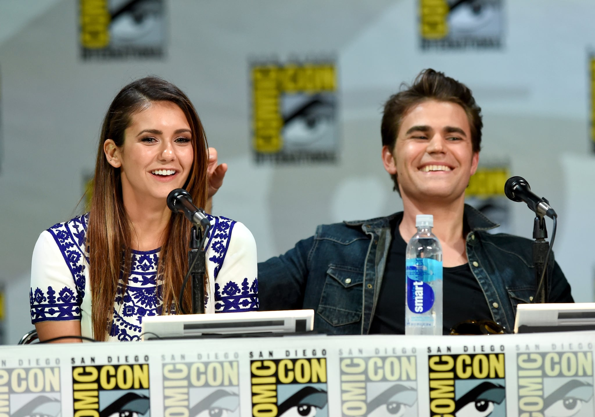 SAN DIEGO, CA - JULY 26:  Actors Nina Dobrev (L) and Paul Wesley attend CW's