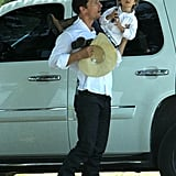 Matthew McConaughey held son Levi on Easter Sunday as they went out to lunch in Texas.