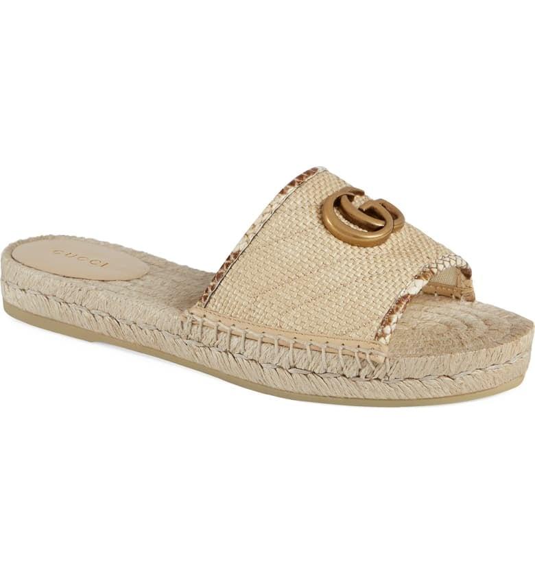 Gucci Pilar Espadrille Slide Sandals