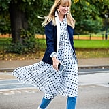 Style Your Polka Dots With a Blazer, Denim, and Statement Earrings