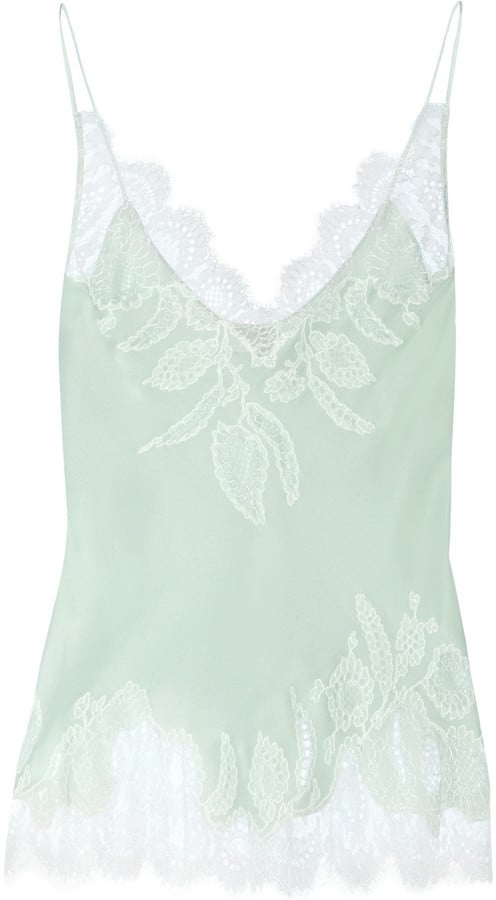 Carine Gilson Chantilly Lace-Trimmed Silk-Satin Camisole ($735)