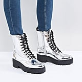 Monki Metallic Lace Up Biker Boot