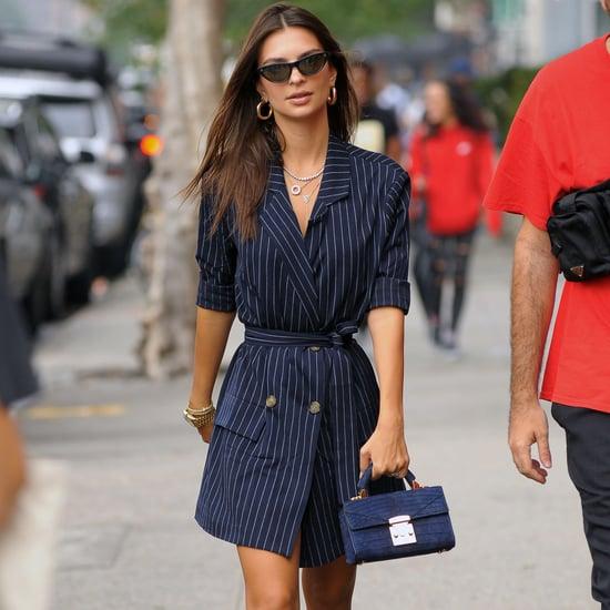 Emily Ratajkowski Pinstripe Blazer Dress LPA