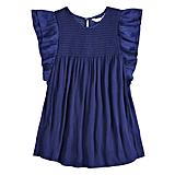 قميص أزرق واسع ذو كشكش وثنيات ناعمة