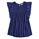 Ruffle Smocked Swing Top in Blue