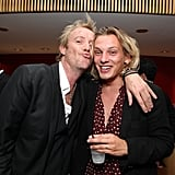 Rhys Ifans and Jamie Campbell Bower of Anonymous snuggle up at the film's premiere.