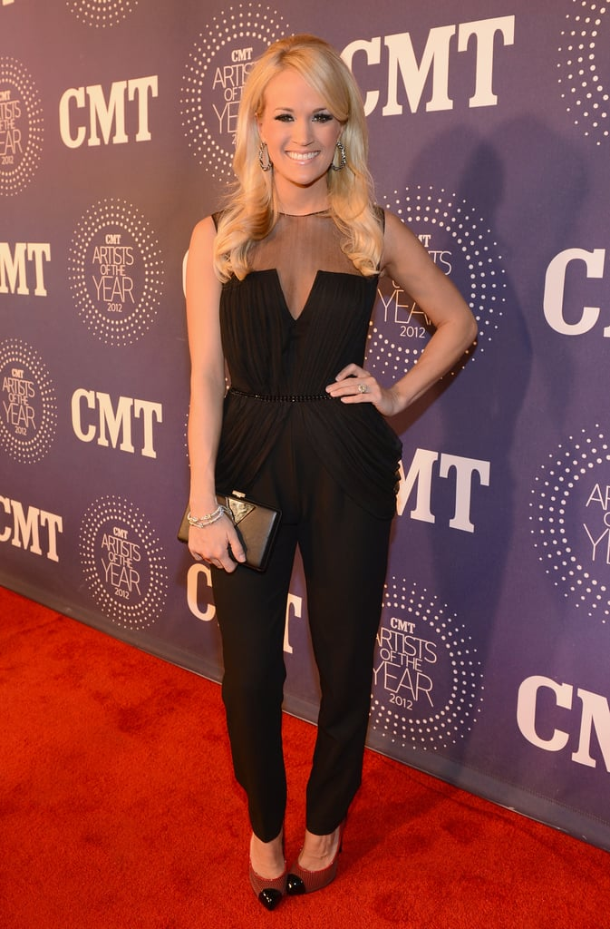Carrie Underwood struck a pose on the red carpet ahead of the 2012 CMT Artists of the Year show in Tennessee on December 3.