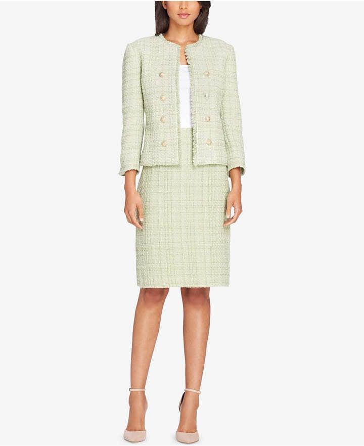 4b320682 Tahari ASL Tweed Button-Embellished Skirt Suit | Amal Clooney Tweed ...