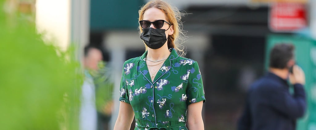 Shop Jennifer Lawrence's Green Cat-Print HVN Dress