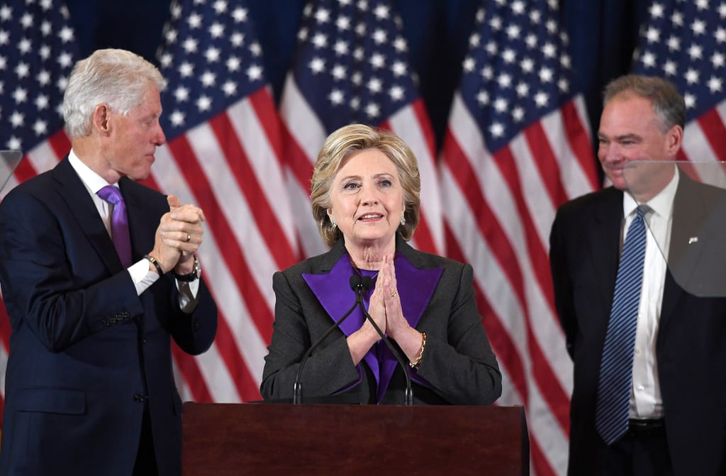 Wearing a pantsuit by Ralph Lauren Collection during her concession speech.