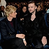Ellen and Justin shared a moment in the audience.