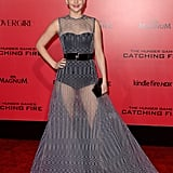 Jennifer Lawrence wore a sheer Dior gown for the LA premiere.
