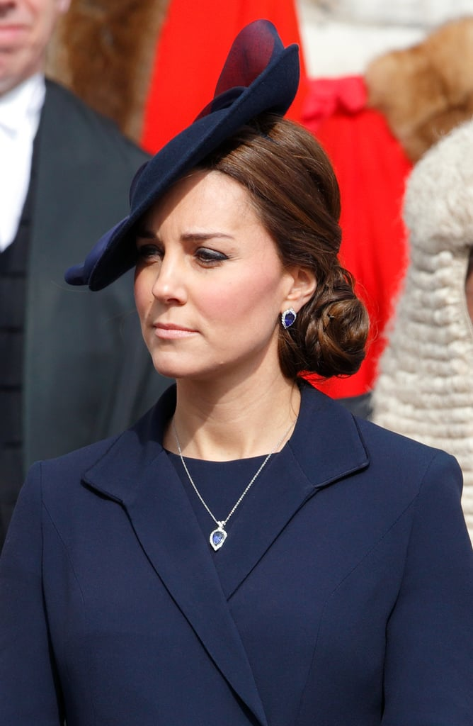 Likewise, the diamond and tanzanite necklace and earrings by G. Collins and Sons that Kate wore to a service at St. Pauls in 2015 are likely to have been a gift. The set works perfectly with Kate's engagement ring, and her favorite color is blue, so it could be that this was a personal gift from her hubby?