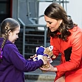 Ava Watt, a 9-year-old girl with cystic fibrosis, presented Kate with a gift as she visited Great Ormond Street Hospital in January 2018.
