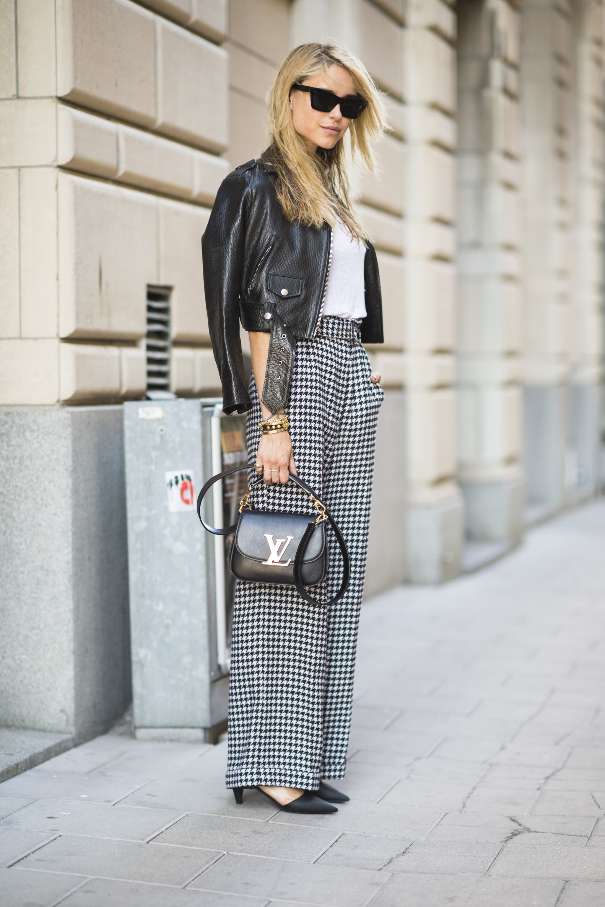 Houndstooth trousers feel totally classic — but a cropped