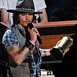 Johnny Depp accepted his golden popcorn at the MTV Movie Awards.