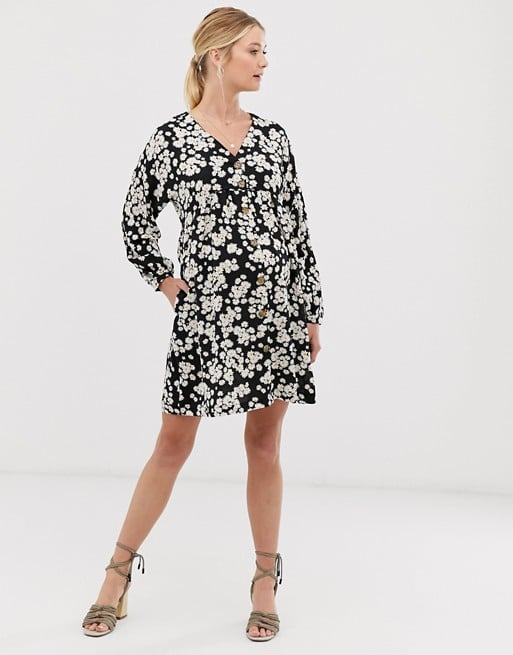 New Look Maternity button through smock dress in ditsy floral | ASOS