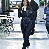 Kourtney Kardashian Wearing a Denim Jumpsuit
