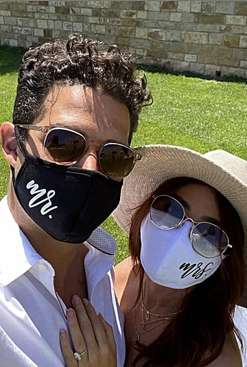 "Sarah Hyland and Wells Adams Wear ""Mr"" and ""Mrs"" Face Masks"