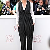 Julia looked all sorts of fabulous in this relaxed Givenchy pinstripe set, which she wore with Repossi jewels to promote Money Monster at Cannes in 2016.