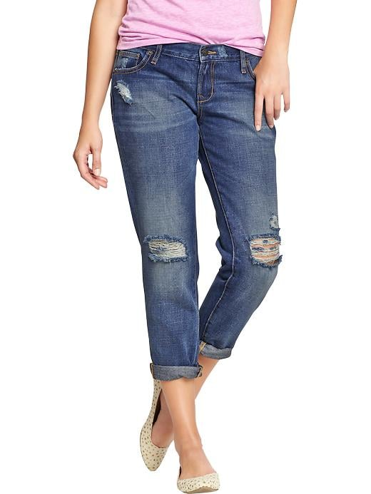 Did you know distressed boyfriend denim like these Old Navy jeans ($38, originally $40) look amazing with heels?