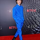 At an Australian premiere of The King in Sydney, Timothée wore an electric blue outfit by Haider Ackermann.