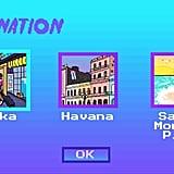 Second, click on her destination — we chose Osaka, Tokyo.