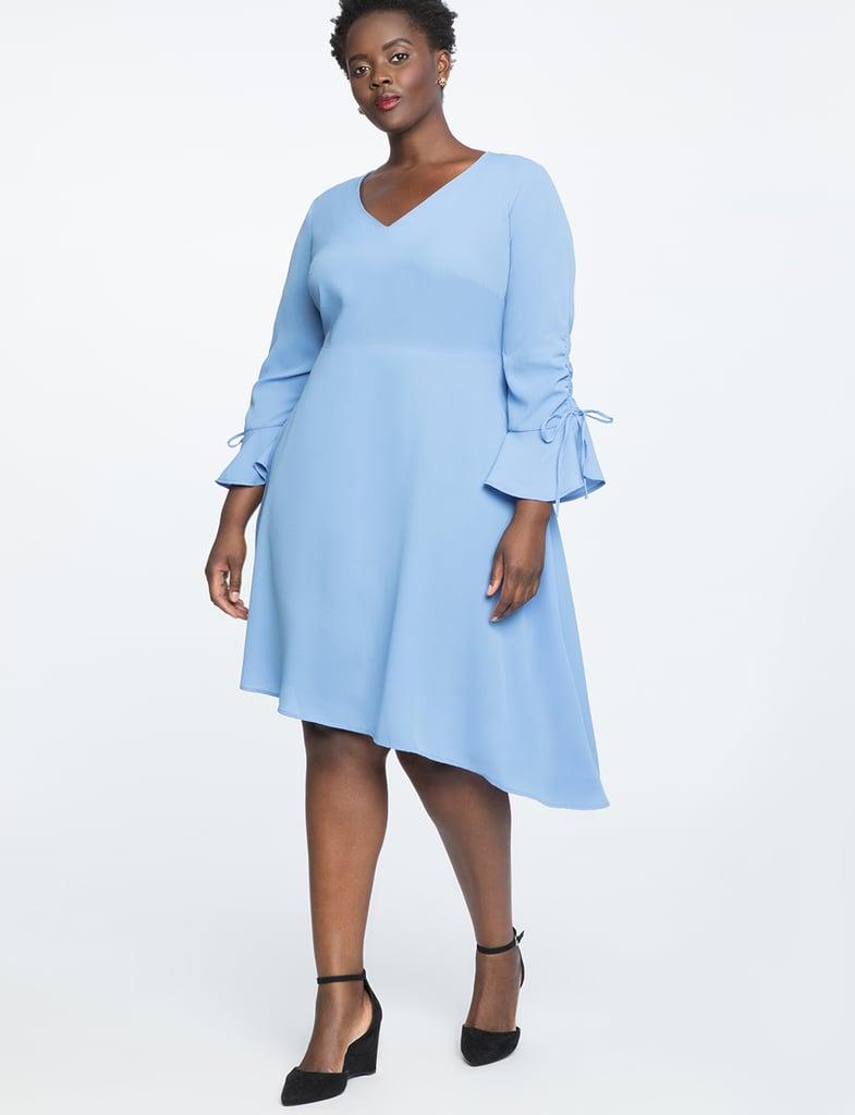 ELOQUII Gathered Sleeve Flounce Dress