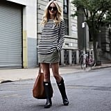 A Striped Shirt, Miniskirt, and Rain Boots