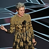Frances McDormand Accepting an Oscar Wearing Zero Makeup