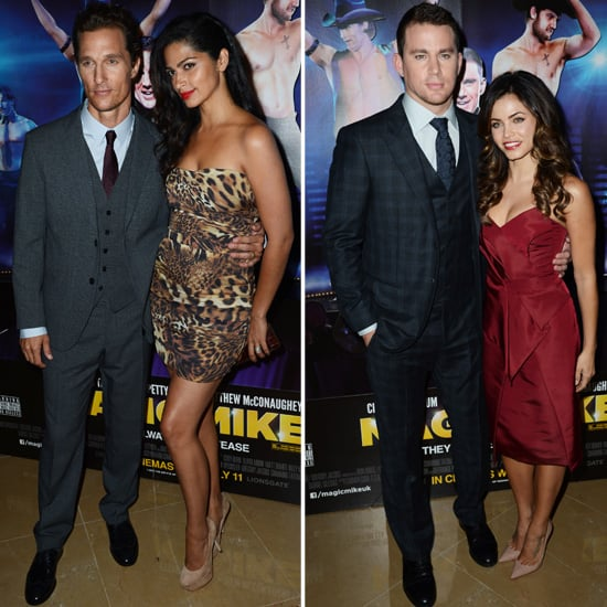 Matthew Poses With Pregnant Camila, Channing, and Jenna at Magic Mike's London Premiere