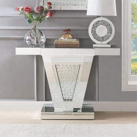 Console Table in Mirrored and Faux Crystals
