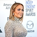 Jennifer Lopez's Rhinestone Bodysuit and Purple Skirt