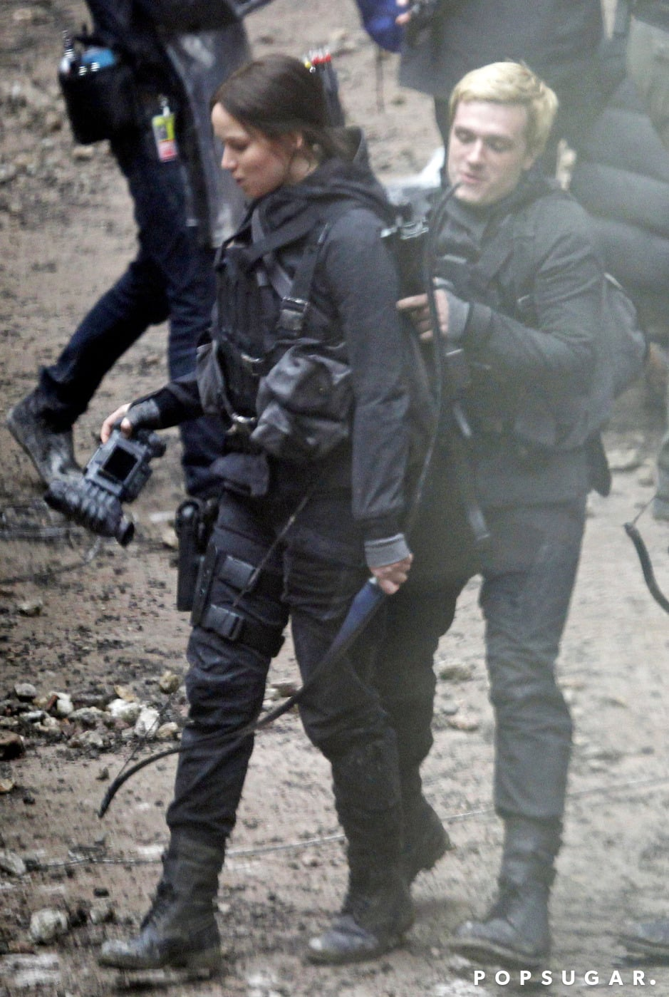 Hutcherson helped Lawrence with her gear.