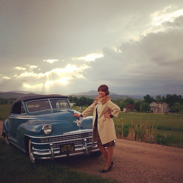 Jessica Alba rocked a vintage look (love the coat!) while filming Dear Eleanor in Colorado. Source: Instagram user jessicaalba