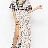Forever 21 Floral V-Neck Contrast Maxi Dress