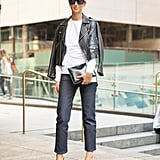 A white blouse and jeans